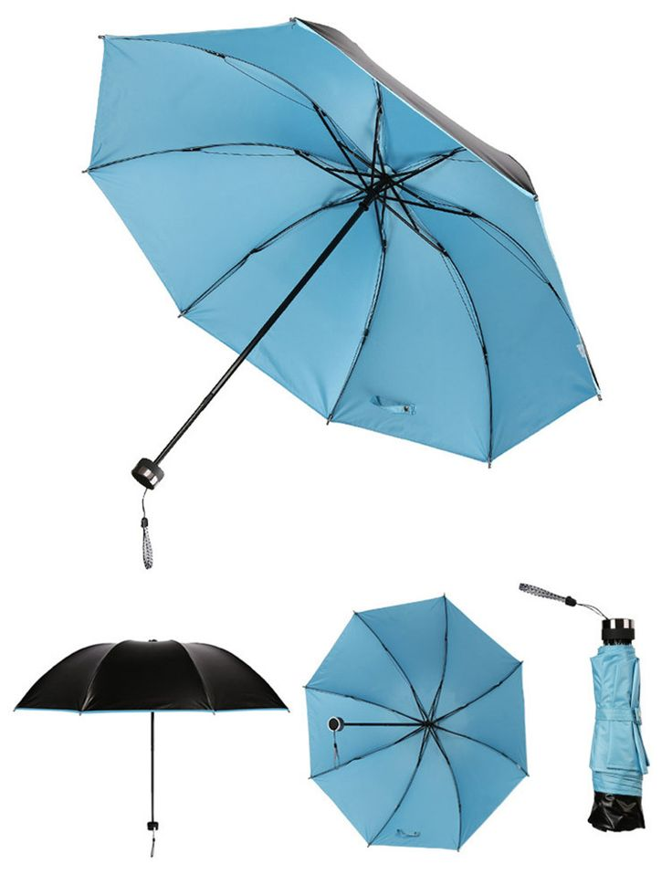 PuTwo Umbrella Korean Umbrella Ladies Anti-UV Windproof Folding Umbrella - Blue