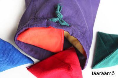 Ohje: Tetran muotoiset hernepussit http://www.haaraamo.fi