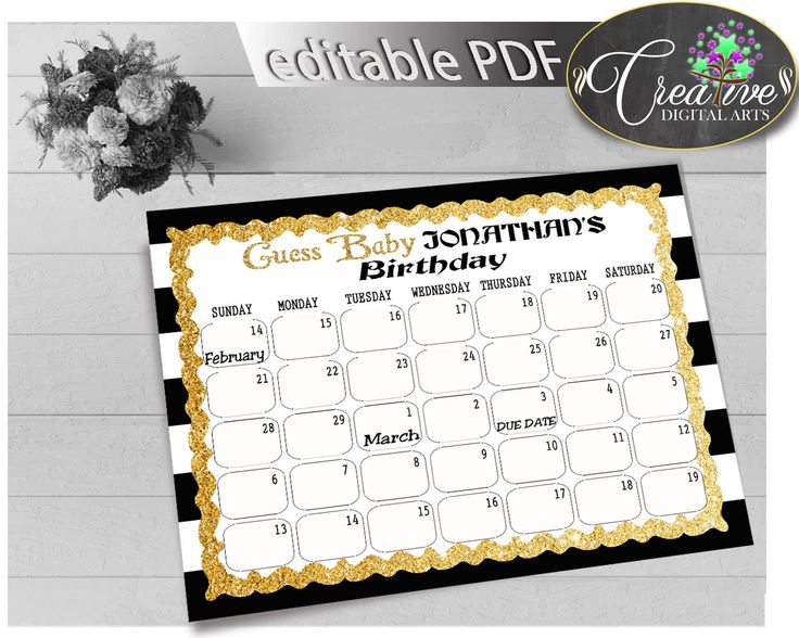 Baby Shower BIRTHDAY PREDICTION due date calendar editable with black white color stripes theme printable glitter, instant download - bs001 #babyshowerparty #babyshowerinvites