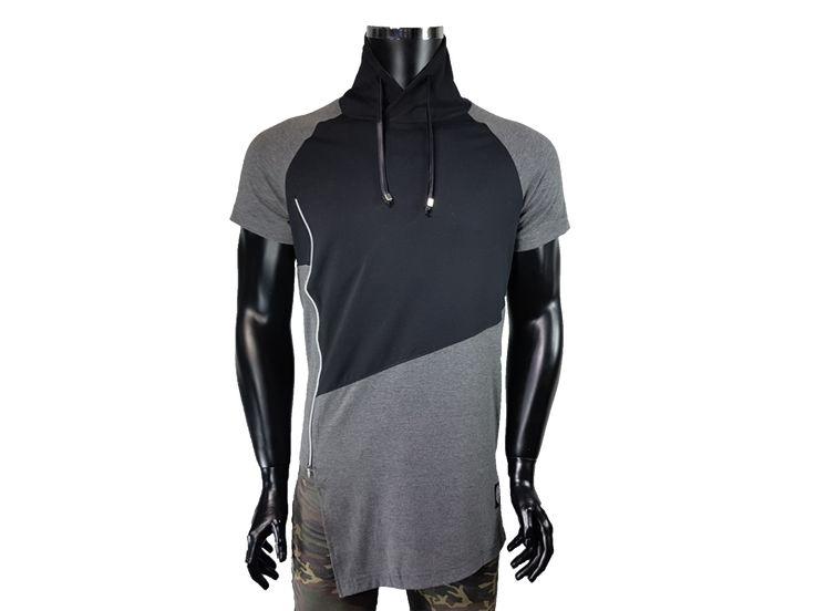 T-shirt męski kołnierz typu komin, regulowany - Antracytowe - T-shirty męskie - Awii, Odzież męska, Ubrania męskie, Dla mężczyzn, Sklep internetowy