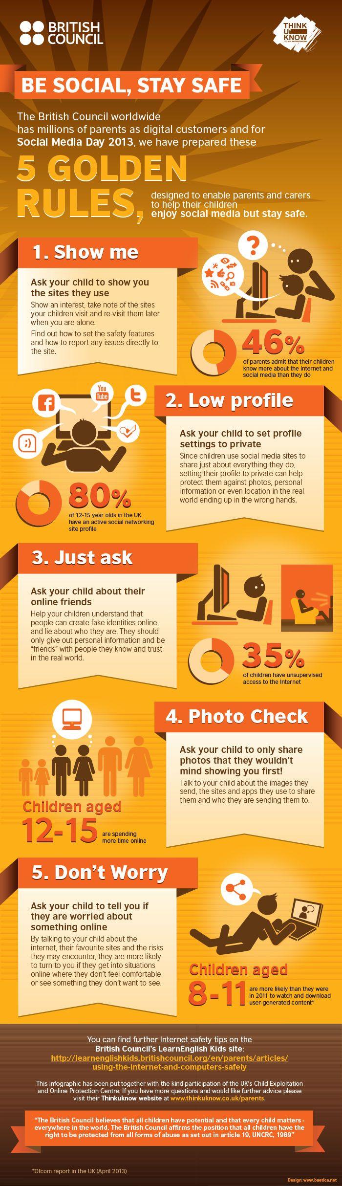 5 golden rules children stay safe online #staysafe british council Bron: Marketingnutz, 29-7-2013