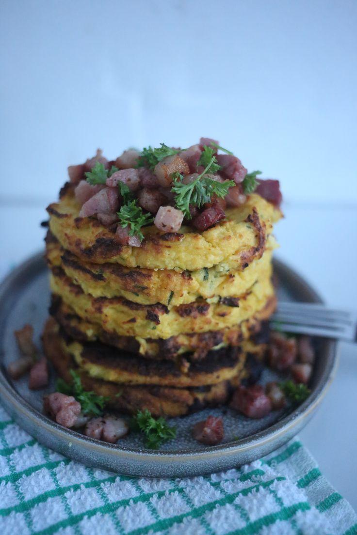 Cauliflower Savoury Cakes with Diced Bacon