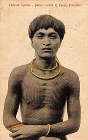 """1908 photo of a Filipino Bontoc warrior bearing a Head hunters 'Chaklag' Tattoo...Tattooing has been a part of Filipino life since pre-Hispanic colonization of the Philippine Islands, tattooing in the Philippines to some were a form of rank and accomplishments, some believed that tattoos had magical qualities. The more famous tattooed indigenous peoples of the Philippines where among the area up North Luzon, especially among the Bontoc Igorot, Kalinga, and Ifugao peoples."""