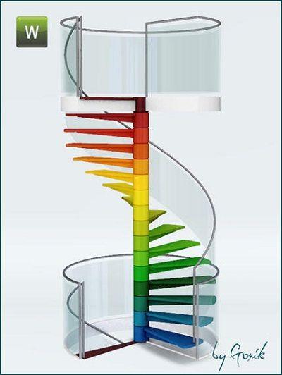 Rainbow spiral stairs