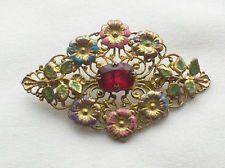 ПРОДАЖУ! винтажный 1920-х годов стиль арт деко чешский рубин кристалл + эмаль весенний цветок брошь