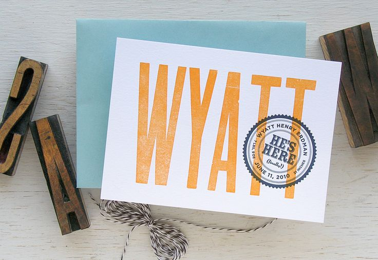 Wood block birth announcement with seal. Orange, navy and aqua. Baby | Arrival Stamp | Echo Letterpress