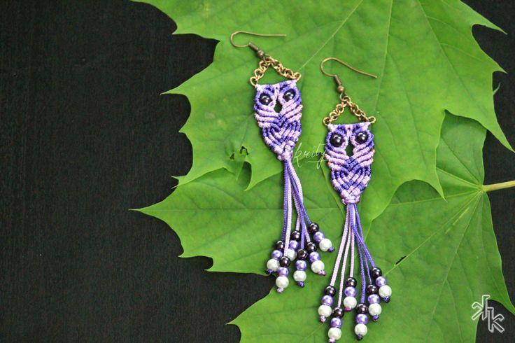 Handmade Macrame Owl earrings by KritysKrafts on Etsy