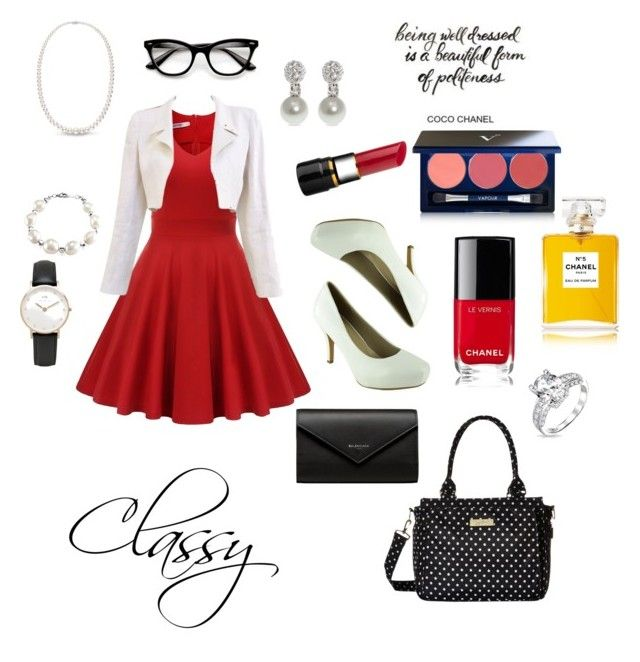 """Classy Sunday"" by etsyshopgirl ❤ liked on Polyvore featuring Chanel, Vapour Organic Beauty, Daniel Wellington, Bling Jewelry, West Coast Jewelry, Givenchy, Ju Ju Be, Balenciaga and contest"