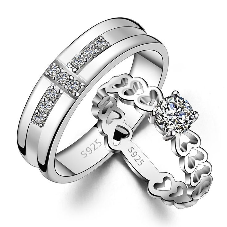 Trendy His u Hers Matching Couple Sterling Silver CZ Rings Set Best personalized gifts for him