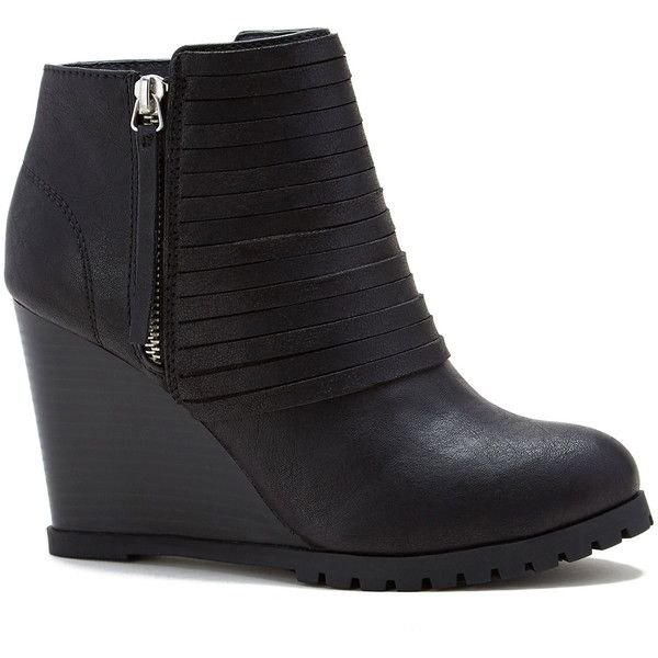 Ooh! I love these wedge ankle boots!!! Sugar Black Distressed Ribbed Wedge Bootie ($35) ❤