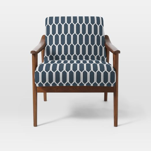 Mid-Century Show Wood Upholstered Chair, Heathered Weave, Cayenne