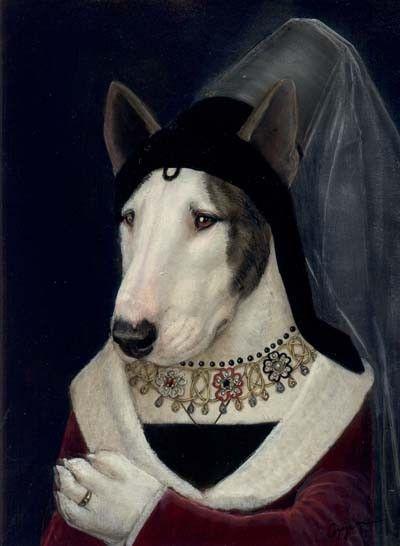 Melinda Copper anthropomorphic Bull Terrier portrait #montableau.com www.montableau.com