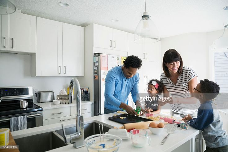 Stock Photo : Family baking cookies in kitchen