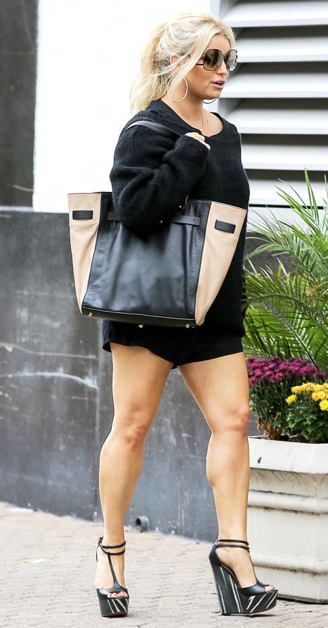 Jessica Simpson on October 20, 2012. I am pinning this not because she looks awesome (shoes ick) but because she IS awesome for taking time to lose the baby weight healthily. HI HO!