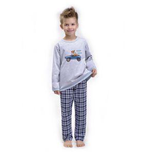 De Taro Alvin 1141 kinderpyjama van Corazonkids grijs met opdruk en geruite broek. Bij de Taro kinderpyjama van CorazonKids is de broek een ruitjes motieven. Het shirt heeft een leuke opdruk. De Taro kinderpyjama van CorazonKids is van goede kwaliteit.