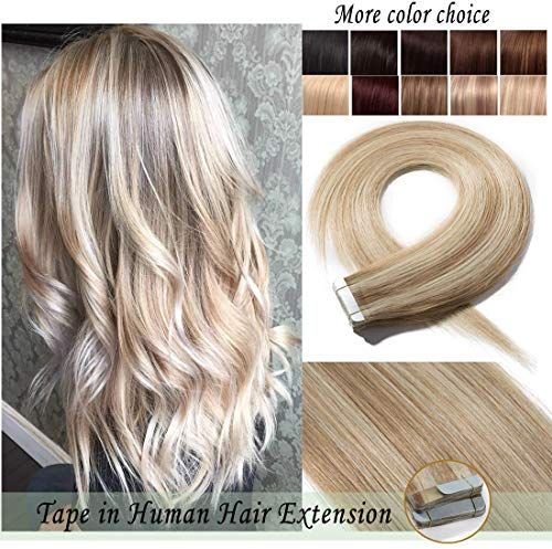 Amazing offer on S-noilite Tape Human Hair Extension Women Glue Remy Human Hair Piece Seamless Skin Weft Invisible Double Tape Full Head Straight 40 Pcs 100 Gram 24Inch #18P613 Ash Blonde&Bleach Blonde online