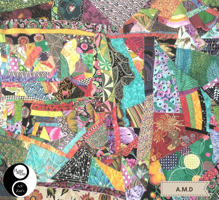 Création A.M.D en Expo AA'Zart'S uniquement  Panneau mural 80x80 crazy patch  #patchwork #décoration