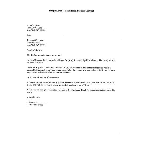 How to Write A Sample Letter of Cancellation Business Contract - contract termination letter