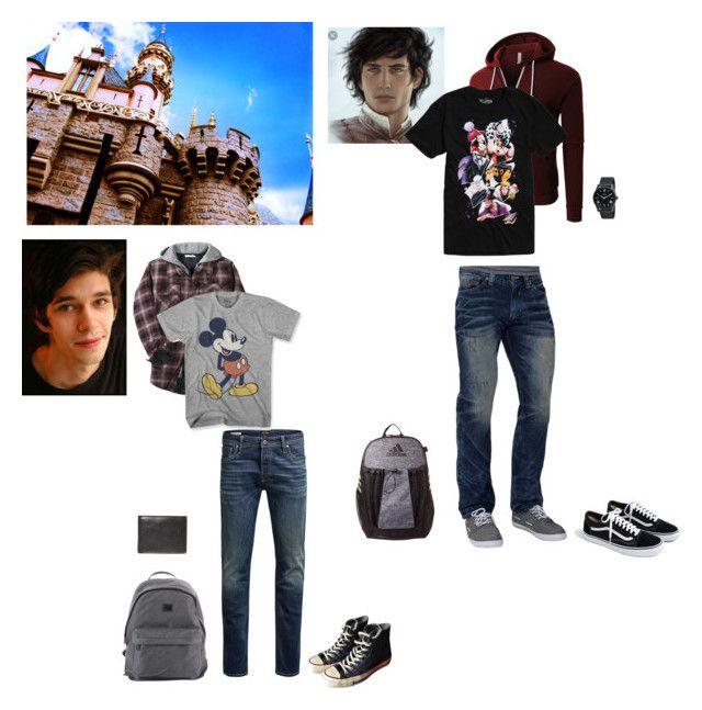 """""""Simon and victor going to Disneyland with the girls!"""" by circe-1emon on Polyvore featuring Jack & Jones, Converse, J.Crew, Nixon, Paul & Shark, Affliction, Other, Mad Engine, LE3NO and Disney"""