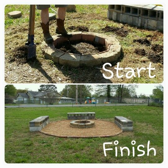 39 Diy Backyard Fire Pit Ideas You Can Build: DIY Fire Pit With Cinder Block Benches.