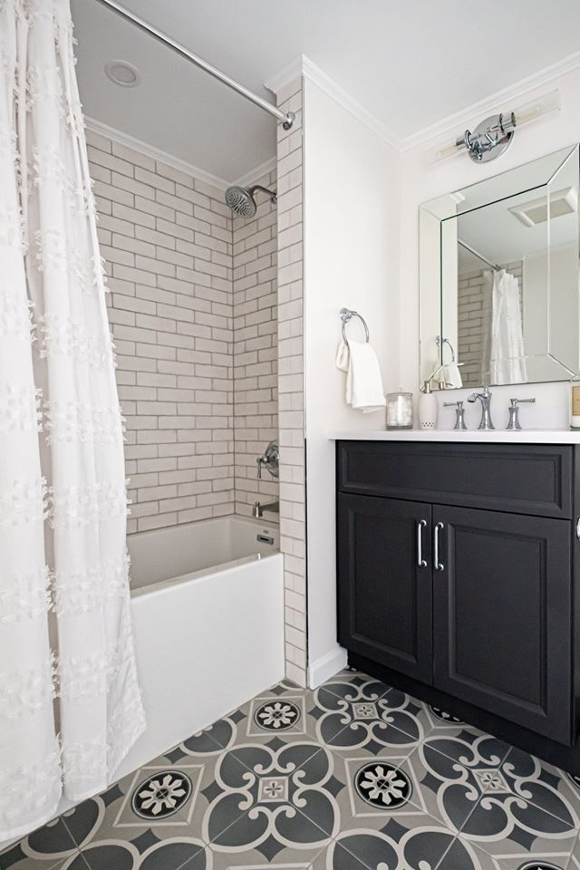 An Already Existing Hall Bathroom That Is Getting All New Floor Tiling And Shower Tile A New Bathtub In 2020 Bathroom Renovations Bathroom Renovation Bathroom Design
