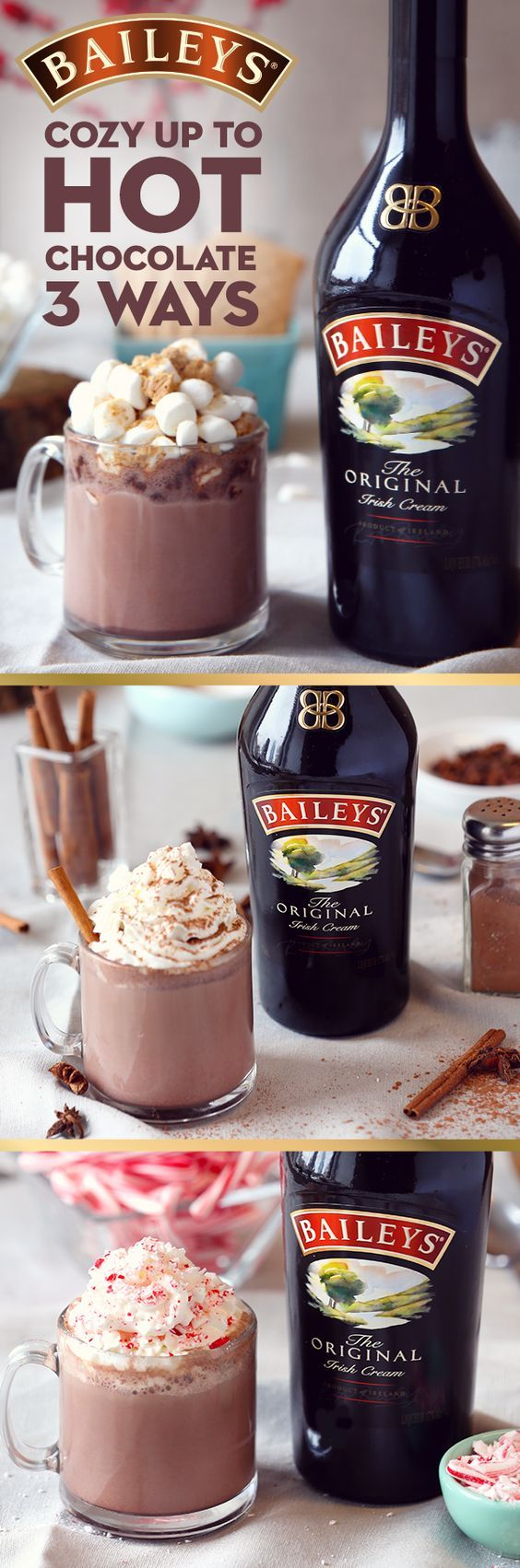 Cozy up on the couch with a warm homemade dessert drink. These 3 easy twists on the classic Baileys and hot chocolate recipe are the perfect treat. Whether you like to make your cocoa in a crockpot or stovetop, these generous toppings—pumpkin spice with a hint of hazelnut spread, peppermint with a candy cane garnish or s'mores topped with marshmallows and graham crackers—pick your favorite and just add 1.5oz Baileys Irish Cream Liqueur per serving.