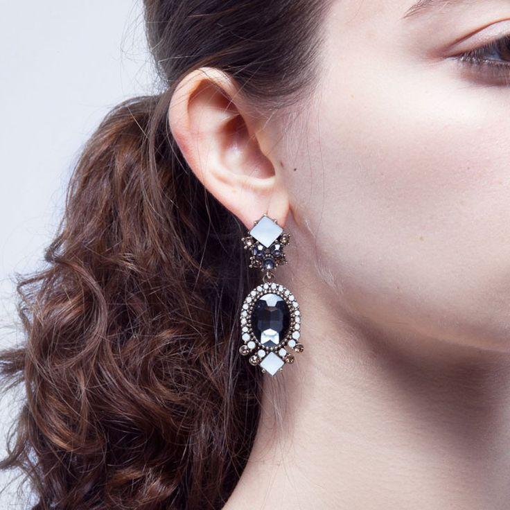 Maneroson Sunshine Statement Earring Neutral Colors New Statement Crystal Stud Earring For Women Feminine Chic Look