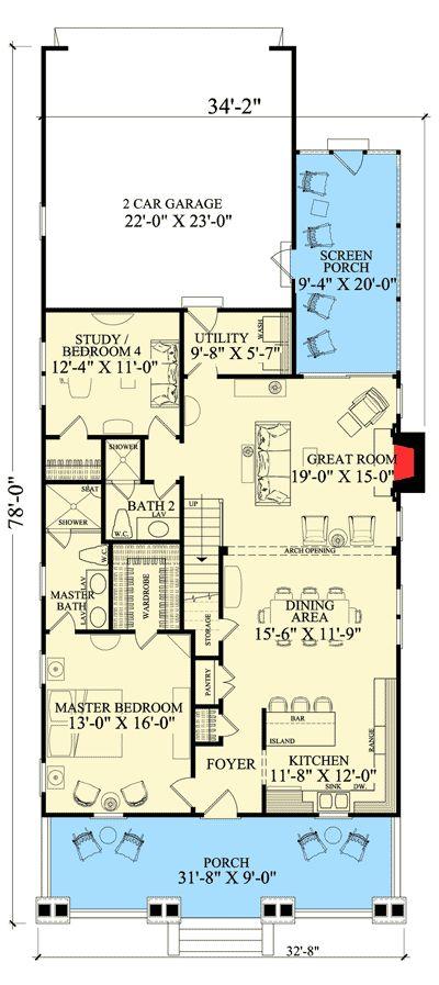 Best 25 narrow lot house plans ideas on pinterest for Narrow corner lot house plans