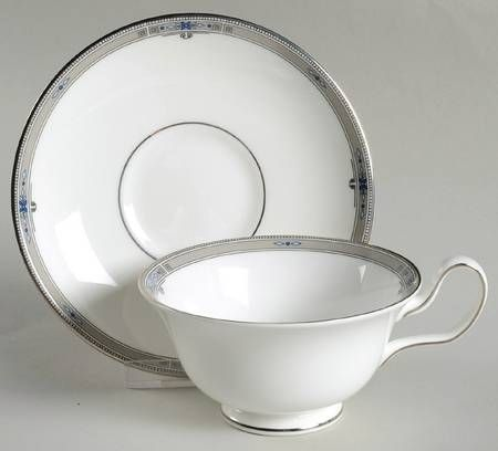 Wedgwood Amherst (Platinum Trim) Peony Shape Footed Cup & Saucer Set