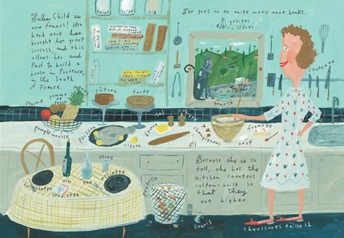 With the publication of Mastering the Art of French Cooking, Julia Child has become famous, and that means no more hunching in the kitchen. Julia and her husband, Paul Child, build a house in Provence, in the South of France, where they build custom kitchen counters to accommodate her height.