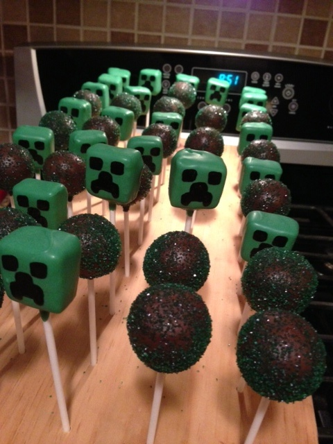 Minecraft Cake Pops :) @ Carrie Scoot. This is what I was looking for.