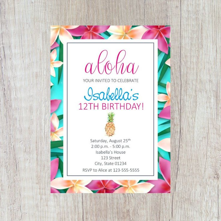 Luau Invitation, Luau Party, Aloha Party, Aloha Invitation, Luau Birthday Party, Tropical Birthday Invitation, Pineapple Party Invitation by FarahLynnDesign on Etsy