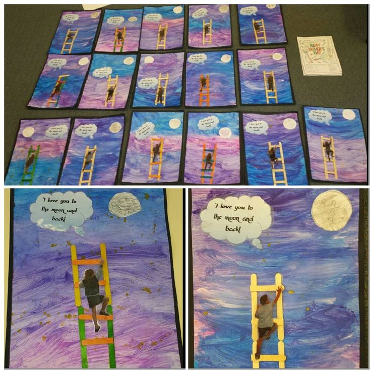 Fathers day craft:  Backgrounds were painted on an A3 blank paper with night sky colours. Students glued on ladders made of pop sticks.Then drew and cut out moons. Students posed in a climbing position and photographed.  They were then printed and cut out individually (by the teacher) and laminated. Students pasted their picture onto their ladder. The speech cloud was made in word and says 'I love you to the moon and back'. The work was then put onto a black backing to create a frame.