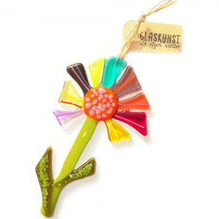 Handgemaakte glazen bloem van kleurrijk glas. Decoratieve bloem hanger voor huis en tuin!