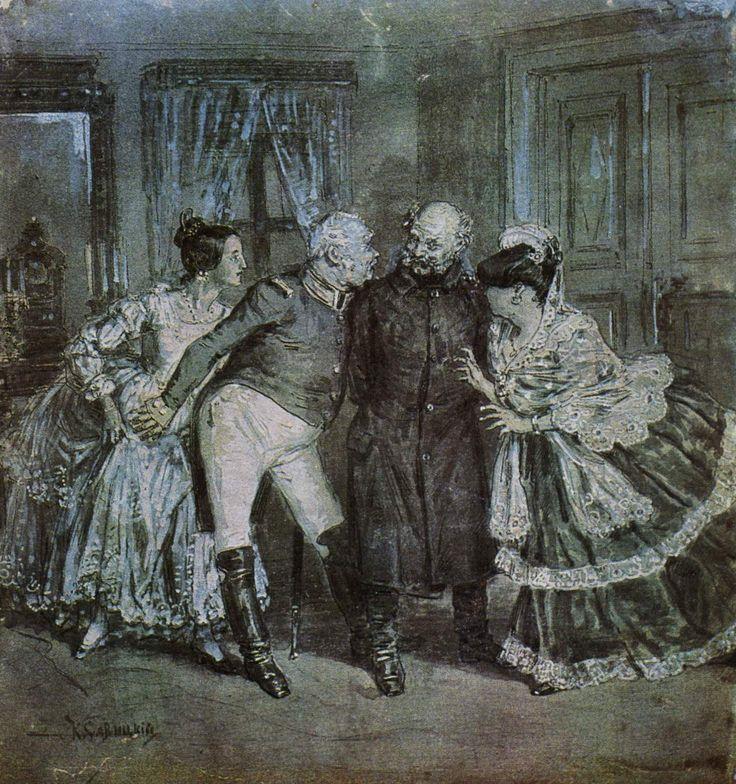 Konstantin Savitsky - An Illustration to Nikolai Gogol's Play 'The Government Inspector'