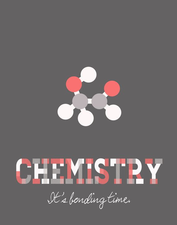 Chemistry Bonding Time Poster - Educational Science Poster -11x14 - White, Gray, Pink, Baby Blue