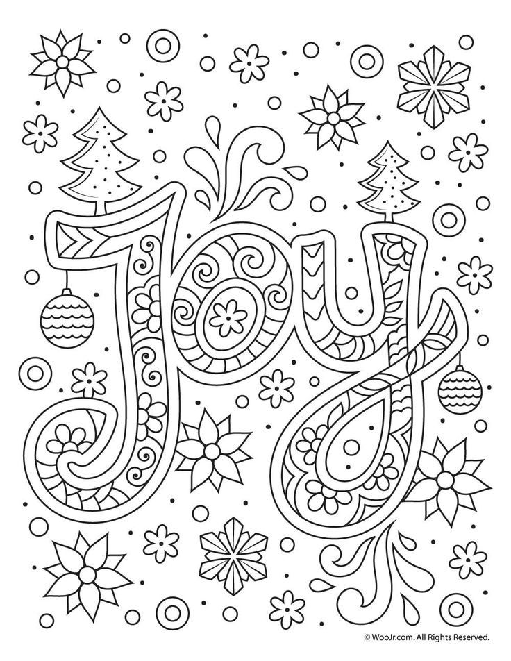 Christmas Joy Typography Coloring Page Easy Coloring