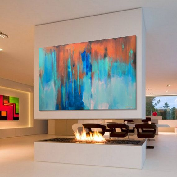 Peinture abstraite Large Turquoise bleu vert orange par Artoosh