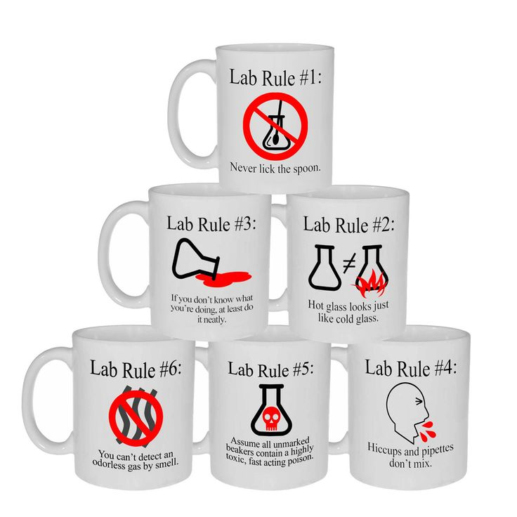 Lab Rules 1 Through 6 - Complete Set of Lab Rules Coffee or Tea Mugs, Latte Size