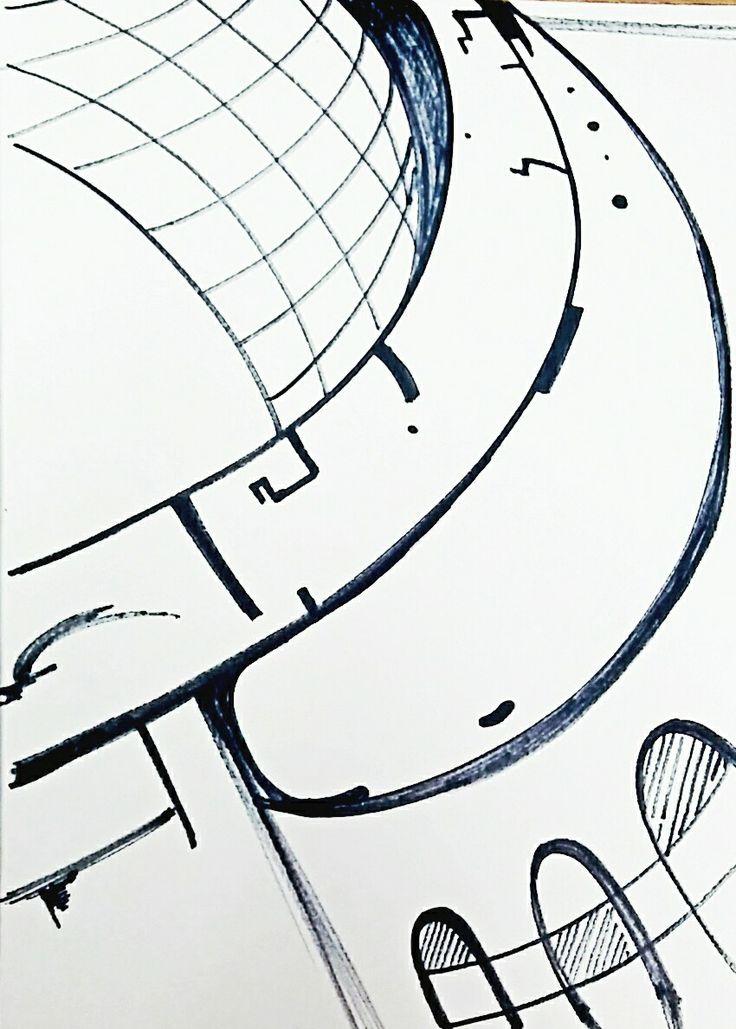 건축물의 휘어진 형태를 보고 곡선적인 느낌을 받고 스케치하였다. 크롭으로 쓰고 싶은 소스.