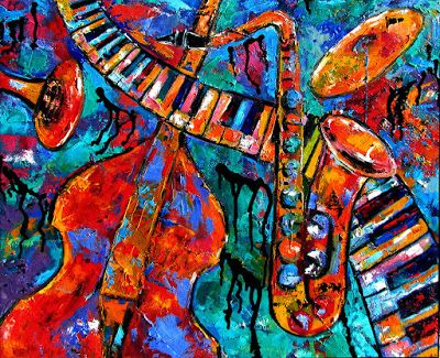Daily Painters Abstract Gallery: Abstract Piano Saxophone Bass Trumpet Art Painting Keyboard Paintings Music by Texas Fine Artist Debra Hurd