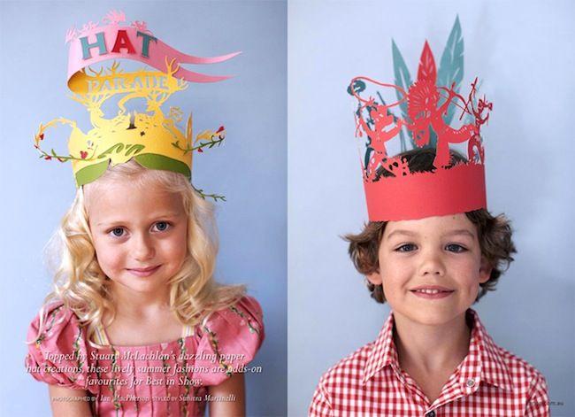 Ideas para fiestas infantiles, coronas y gorros de cartón http://www.minimoda.es