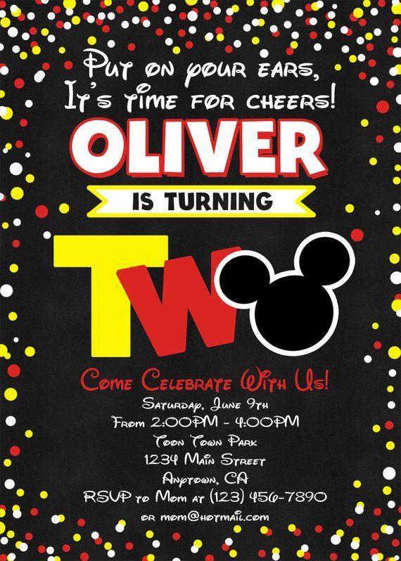 Mickey Mouse Birthday Invitation Mickey Mouse Invitation Etsy