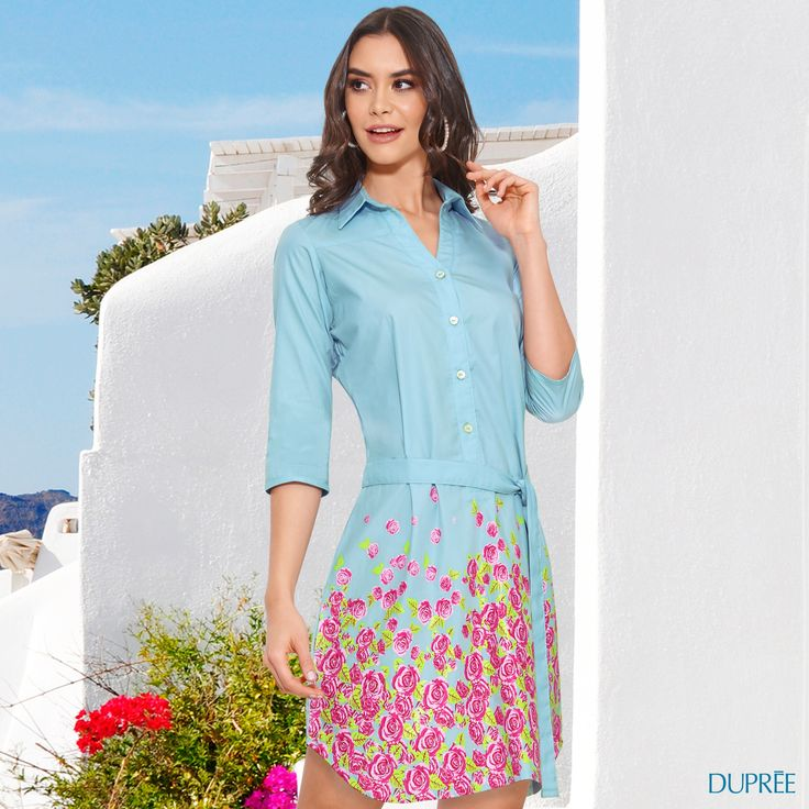 Vestido azul con flores. Clima cálido. Mujer Dupree