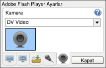 Adobe - Flash Player : Yardım - Kamera Ayarları