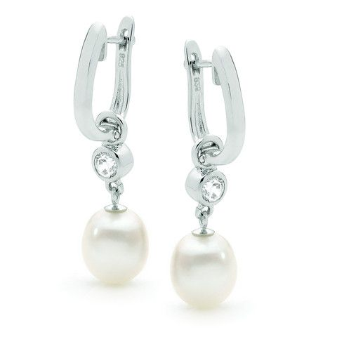 Sterling Silver White 8.5-9mm Freshwater Pearl Cubic Zirconia huggy Earrings
