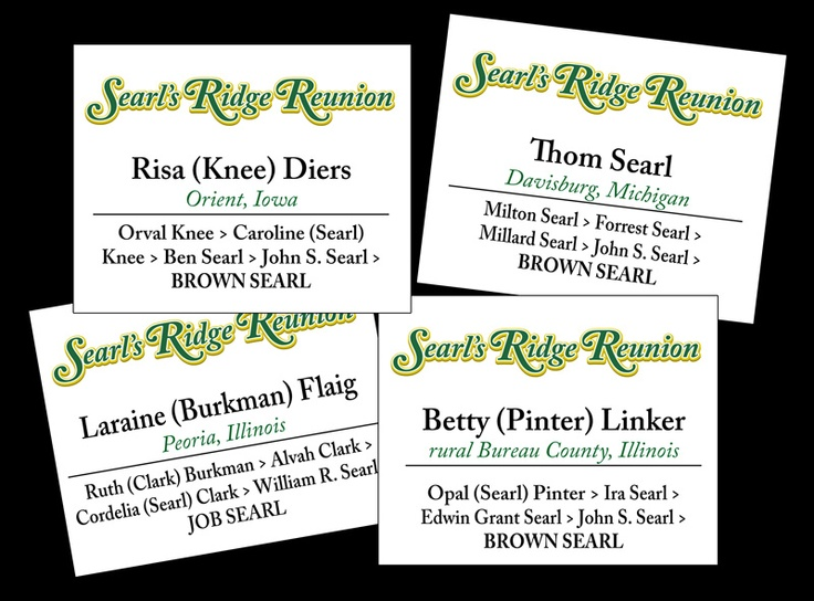 Searl's Ridge Reunion name tags