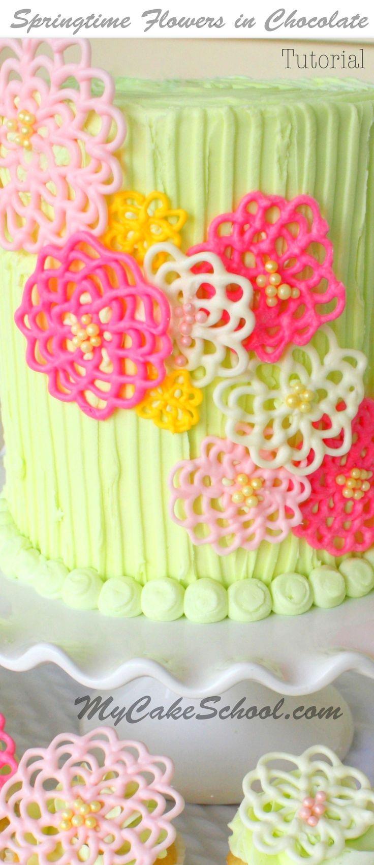 Springtime Flowers in Chocolate- A Cake Decorating Blog Tutorial! by MyCakeSchool.com! Online Cake Decorating Classes, Tutorials, & Recipes! #cakedecoratingtechniques