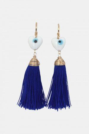 cd662de44bdb Aretes Largos de Mota para Mujer en Color Azul. Si quieres ver mas ...
