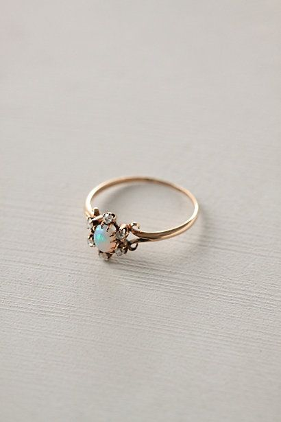 Opal & Diamond Flower Ring *delicate